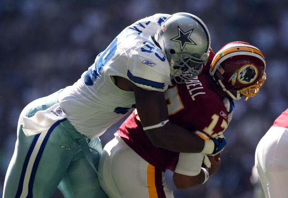 IRVING, TX - SEPTEMBER 28:  Quarterback Jason Campbell #17 of the Washington Redskins is sacked by Chris Canty #99 of the Dallas Cowboys at Texas Stadium on September 28, 2008 in Irving, Texas.  (Photo by Ronald Martinez/Getty Images)