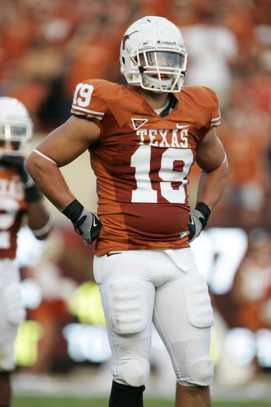 AUSTIN, TX - SEPTEMBER 20:  Blaine Irby #18 of the Texas Longhorns looks on during the game against the Rice Owls on September 20, 2008 at Darrell K Royal-Texas Memorial Stadium in Austin, Texas. Texas won 52-10. (Photo by Brian Bahr/Getty Images)