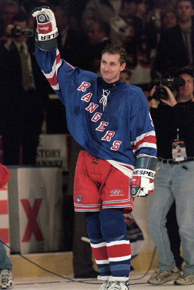 NEW YORK, NY - APRIL 18:  Wayne Gretzky #99 of the New York Rangers waves to the crowd from the ice after playing in his final career game against the Pittsburgh Penguins at the Madison Square Garden on April 18, 1999 in New York City, New York.  Gretzky