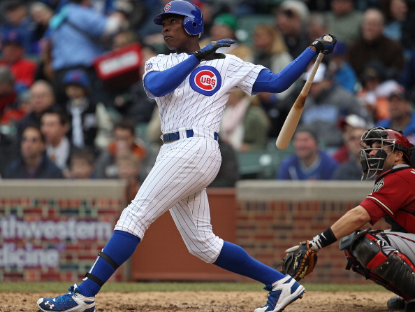 CHICAGO, IL - APRIL 06: Alfonso Soriano #12 of the Chicago Cubs hits his third home run of the season in the 7th inning against the Arizona Diamondbacks at Wrigley Field on April 6, 2011 in Chicago, Illinois. The Diamondbacks defeated the Cubs 6-4. (Photo