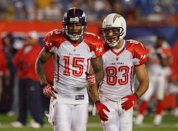 MIAMI GARDENS, FL - JANUARY 31:  Brandon Marshall #15 and Vincent Jackson #83 of the AFC's Denver Broncos and San Diego Chargers jog on the field during the 2010 AFC-NFC Pro Bowl game at Sun Life Stadium on January 31, 2010 in Miami Gardens, Florida. The