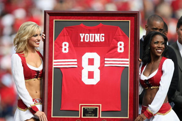 SAN FRANCISCO - OCTOBER 5: Former San Francisco 49ers quarterback Steve Young retires his number at halftime of the New England Patriots and the San Francisco 49ers NFL game on October 5, 2008 at Candlestick Park in San Francisco, California. (Photo by Je