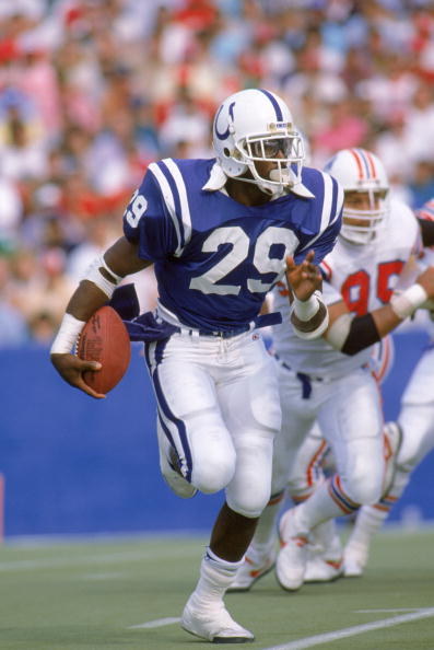 INDIANAPOLIS - OCTOBER 2: Eric Dickerson #29 of the Indianapolis Colts carries the ball up the field during a 1988 season game against the New England Patriots. The Patriots won 21-17. (Photo by: Rick Stewart/Getty Images)