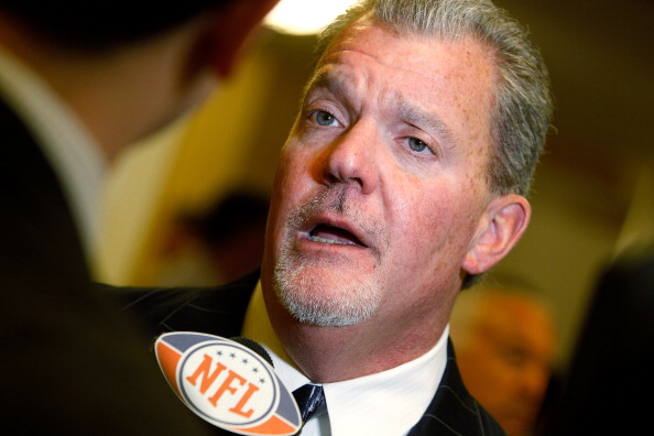 NEW ORLEANS, LA - MARCH 21:  Indianapolis Colts NFL team owner Jim Irsay address the media at the Roosevelt Hotelon March 21, 2011 in New Orleans, Louisiana. Despite a NFL owners imposed lockout in effect since March 12, the league is conducting it's annu