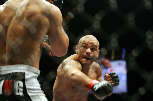 CHICAGO- OCTOBER 25:  Thiago Alves (R) fights Josh Koscheck in a Welterweight bout  at UFC's Ultimate Fight Night at Allstate Arena on October 25, 2008 in Chicago, Illinois. (Photo by Tasos Katopodis/Getty Images)