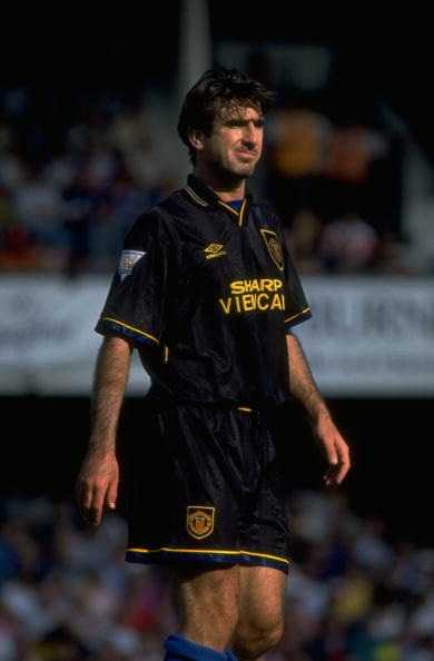 28 Aug 1993:  Eric Cantona of Manchester United pauses for breath during the Football Association Carling Premiership match against Southampton at The Dell in Southampton, England. Manchester United won the match 3-1.   \ Mandatory Credit: Steve  Morton/A
