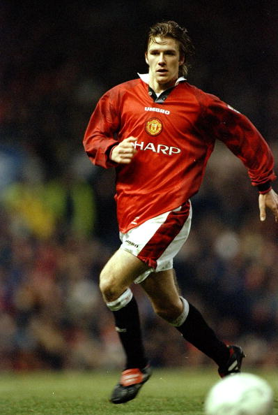28 Dec 1996:  David Beckham of Manchester United in action during the FA Carling Premiership match against Leeds United played at Old Trafford in Manchester, England. Manchester United won the match 1-0. \ Mandatory Credit: Clive  Brunskill/Allsport