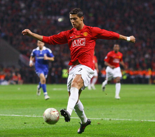 MOSCOW - MAY 21:  Cristiano Ronaldo of Manchester United in action during the UEFA Champions League Final match between Manchester United and Chelsea at the Luzhniki Stadium on May 21, 2008 in Moscow, Russia.  (Photo by Jamie McDonald/Getty Images)