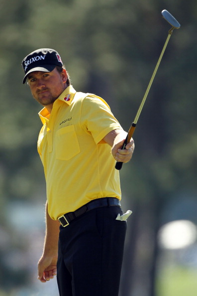 AUGUSTA, GA - APRIL 07:  Graeme McDowell of Northern Ireland watches a putt onto the first green during the first round of the 2011 Masters Tournament at Augusta National Golf Club on April 7, 2011 in Augusta, Georgia.  (Photo by Jamie Squire/Getty Images