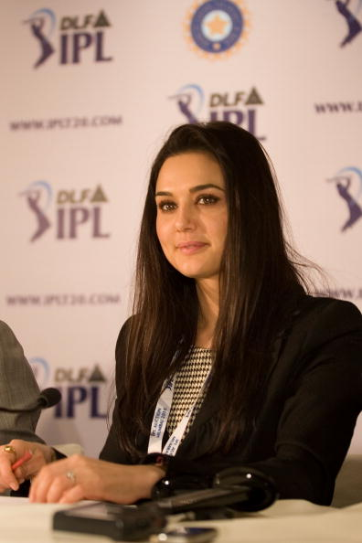 MUMBAI, INDIA - JANUARY 19:  Co-owner of Kings XI Punjab Preity Zinta (C) attends a press conference during the Indian Premier League Auction 2010 on January 19, 2010 in Mumbai, India.  (Photo by Ritam Banerjee/Getty Images)