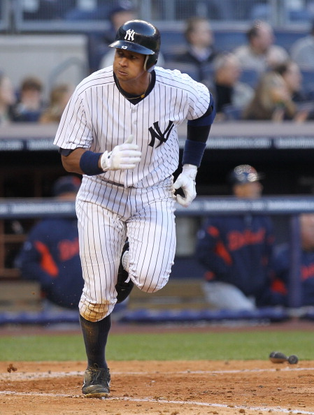 NEW YORK, NY - APRIL 02:  Alex Rodriguez #13 of the New York Yankees runs up the first base line after his solo homerun against the Detroit Tigers at Yankee Stadium on April 2, 2011 in the Bronx borough of New York City.  (Photo by Nick Laham/Getty Images