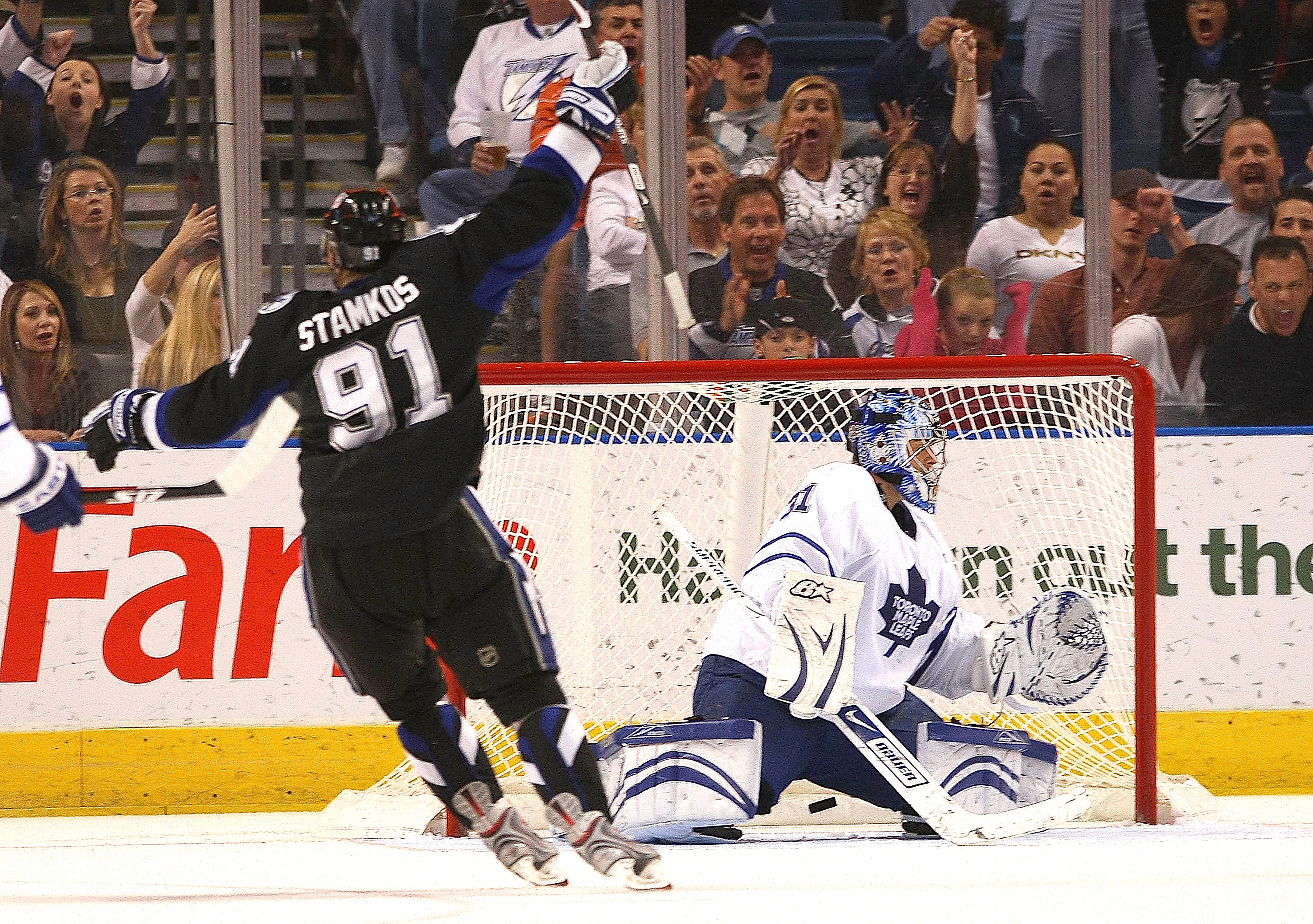 TAMPA, FL - FEBRUARY 12: Curtis Joseph #31 of the Toronto Maple Leafs gives up a third period goal to Steven Stamkos #91 of the Tampa Bay Lightning on February 12, 2009 at the St. Pete Times Forum in Tampa, Florida. The Lightning defeated the Maple Leafs