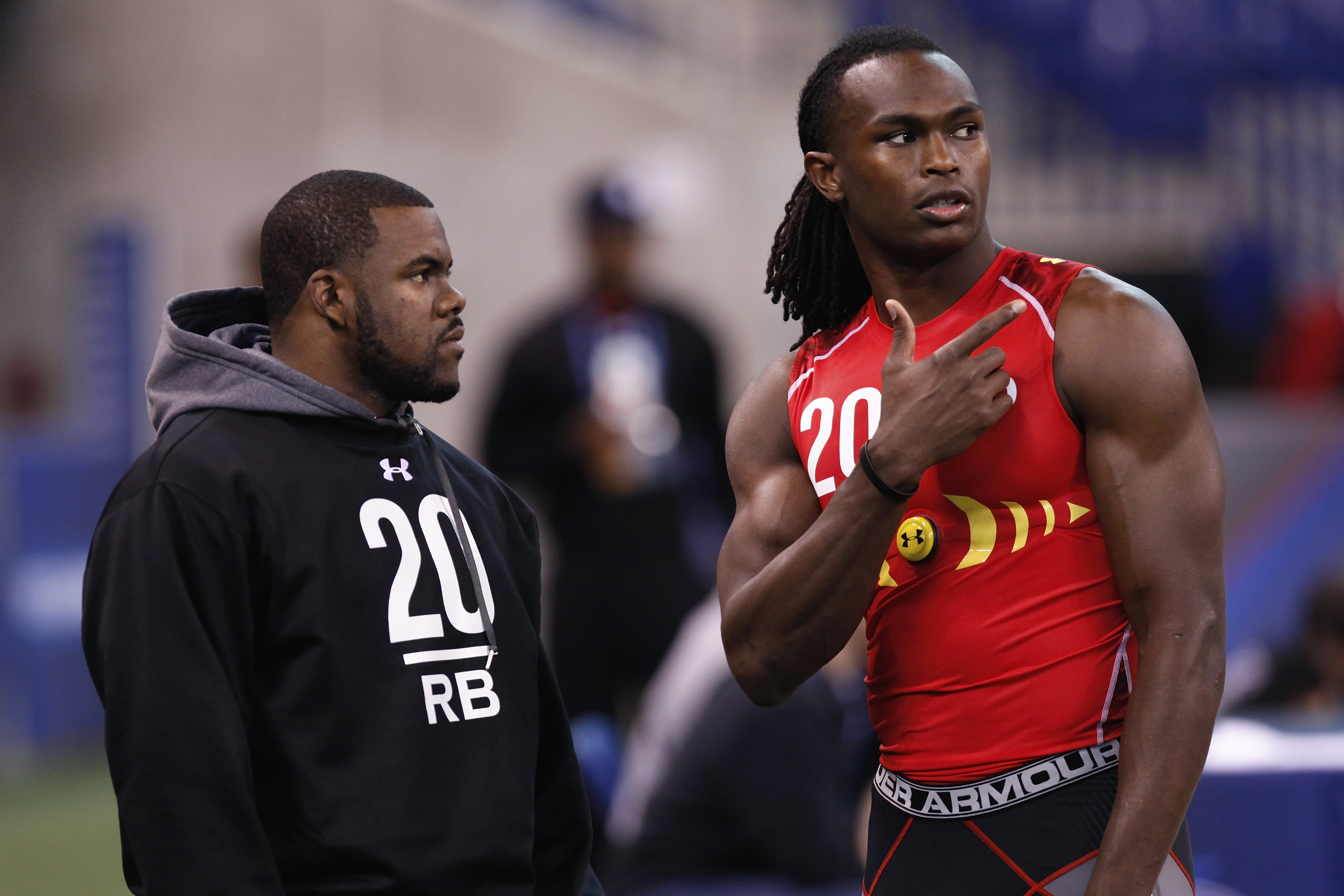 INDIANAPOLIS, IN - FEBRUARY 27: Former Alabama teammates Mark Ingram (L) and Julio Jones look on during the 2011 NFL Scouting Combine at Lucas Oil Stadium on February 27, 2011 in Indianapolis, Indiana. (Photo by Joe Robbins/Getty Images)