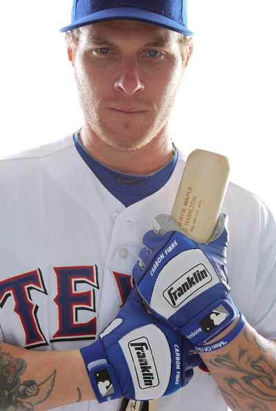 SURPRISE, AZ - FEBRUARY 25:  Josh Hamilton #32 of the Texas Rangers poses for a portrait during Spring Training Media Day on February 25, 2011 at Surprise Stadium in Surprise, Arizona.  (Photo by Jonathan Ferrey/Getty Images)