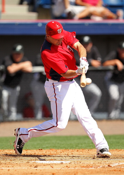VIERA, FL - MARCH 02:  Ryan Zimmerman #11 of the Washington Nationals bats during a Spring Training game against the Florida Marlinsat Space Coast Stadium on March 2, 2011 in Viera, Florida.  (Photo by Mike Ehrmann/Getty Images)