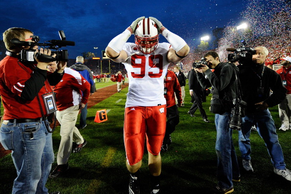 PASADENA, CA - JANUARY 01:  Defensive lineman J.J. Watt #99 of the Wisconsin Badgers walks off the field after losing 21-19 to the TCU Horned Frogs in the 97th Rose Bowl game on January 1, 2011 in Pasadena, California.  (Photo by Kevork Djansezian/Getty I