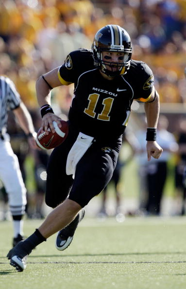 COLUMBIA, MO - NOVEMBER 07:  Quarterback Blaine Gabbert #11 of the Missouri Tigers rolls out during the game against the Baylor Bears at Faurot Field/Memorial Stadium on November 7, 2009 in Columbia, Missouri.  (Photo by Jamie Squire/Getty Images)
