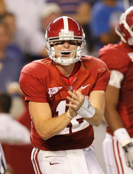 TUSCALOOSA, AL - OCTOBER 02:  Quarterback Greg McElroy #12 of the Alabama Crimson Tide against the Florida Gators at Bryant-Denny Stadium on October 2, 2010 in Tuscaloosa, Alabama.  (Photo by Kevin C. Cox/Getty Images)