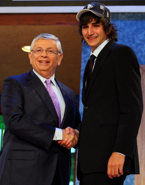 NEW YORK - JUNE 25:  NBA Commissioner David Stern poses for a photograph with the fifth overall draft pick by the Minnesota Timberwolves,  Ricky Rubio during the 2009 NBA Draft at the Wamu Theatre at Madison Square Garden June 25, 2009 in New York City. N