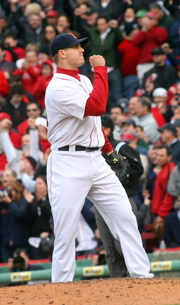 BOSTON, MA - APRIL 8:   Jonathan Papelbon #58 of the Boston Red Sox reacts after striking out Derek Jeter #2 of the New York Yankees in the ninth inning at Fenway Park,  April 2, 2011 in Boston, Massachusetts. (Photo by Gail Oskin/Getty Images)