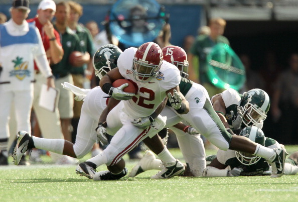 ORLANDO, FL - JANUARY 01:  Mark Ingram #22 of the Alabama Crimson Tide rushes during the Capitol One Bowl against the Michigan State Spartans at the Florida Citrus Bowl on January 1, 2011 in Orlando, Florida.  (Photo by Mike Ehrmann/Getty Images)
