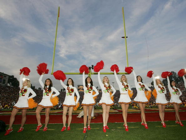 PASADENA, CA - JANUARY 04:  The USC Trojan cheerleaders perform before the start of the BCS National Championship Rose Bowl Game against the Texas Longhorns on January 4, 2006 in Pasadena, California.  (Photo by Stephen Dunn/Getty Images)