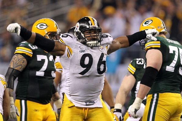 ARLINGTON, TX - FEBRUARY 06:  Ziggy Hood #96 of the Pittsburgh Steelers reacts against the Green Bay Packers during Super Bowl XLV at Cowboys Stadium on February 6, 2011 in Arlington, Texas. The Packers won 31-25.  (Photo by Al Bello/Getty Images)