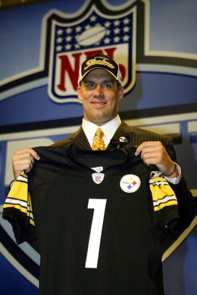 NEW YORK - APRIL 24:  Quarterback Ben Roethlisberger is seen after being selected 11th overall by the Pittsburgh Steelers during the 2004 NFL Draft on April 24, 2004 at Madison Square Garden in New York City.  (Photo by Chris Trotman/Getty Images)