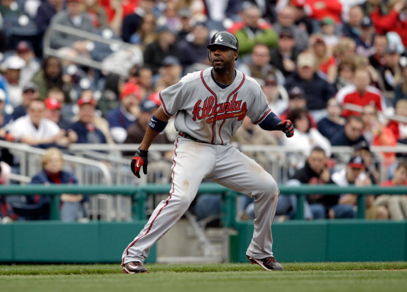 WASHINGTON, DC - APRIL 03:  Jason Heyward #22 of the Atlanta Braves leads off base against the Washington Nationals at Nationals Park on April 3, 2011 in Washington, DC.  (Photo by Rob Carr/Getty Images)