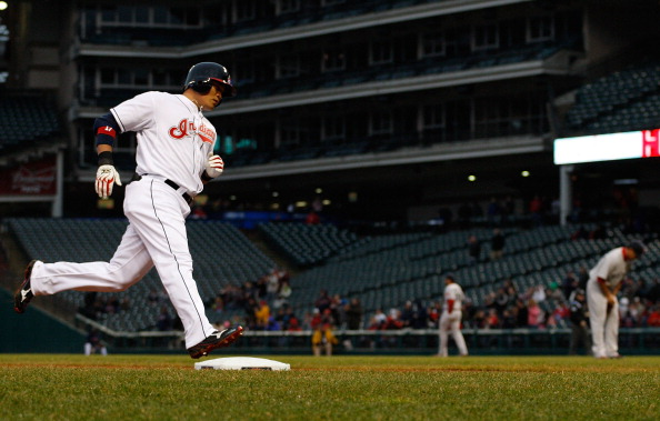 CLEVELAND - APRIL 06:  Shin-Soo Choo #17 of the Cleveland Indians rounds third base after hitting a two run home run in the first inning against the Boston Red Sox during the game on April 6, 2011 at Progressive Field in Cleveland, Ohio.  (Photo by Jared