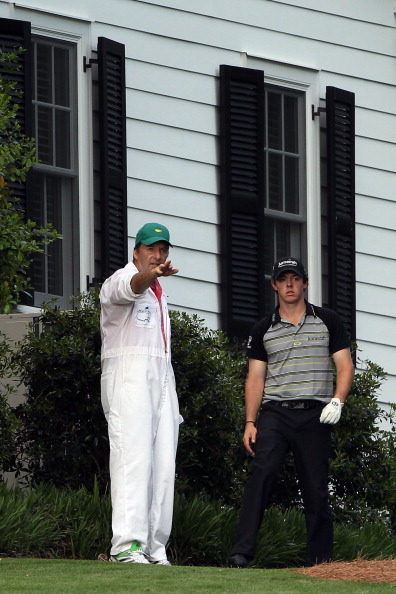 AUGUSTA, GA - APRIL 10:  Rory McIlroy of Northern Ireland waits to plays a shot on the tenth hole as his caddie J.P. Fitzgerald looks on during the final round of the 2011 Masters Tournament at Augusta National Golf Club on April 10, 2011 in Augusta, Geor