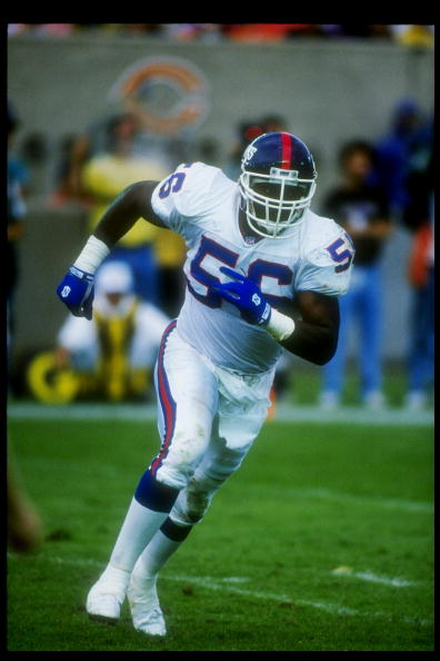 5 Sep 1993:  Linebacker Lawrence Taylor of the New York Giants moves down the field during a game against the Chicago Bears at Soldier Field in Chicago, Illinois.  The Giants won the game, 26-20. Mandatory Credit: Jonathan Daniel  /Allsport
