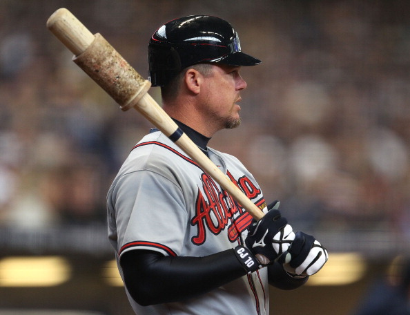 MILWAUKEE, WI - APRIL 04: Chipper Jones #10 of the Atlanta Braves waits to bat against the Milwaukee Brewers during the home opener at Miller Park on April 4, 2011 in Milwaukee, Wisconsin. (Photo by Jonathan Daniel/Getty Images)
