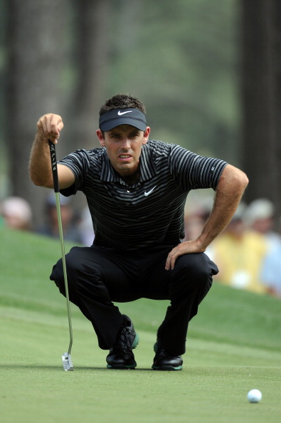 AUGUSTA, GA - APRIL 10:  Charl Schwartzel of South Africa lines up a putt on the sixth green during the final round of the 2011 Masters Tournament on April 10, 2011 in Augusta, Georgia.  (Photo by Harry How/Getty Images)