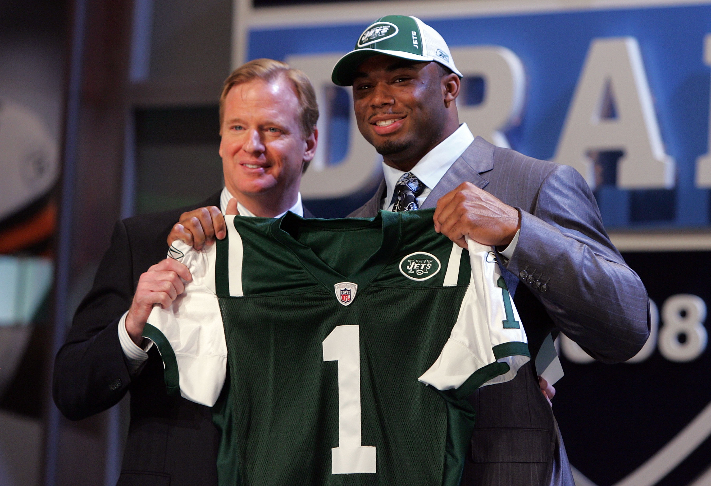 NEW YORK - APRIL 26:  Vernon Gholston poses for a photo after being selected as the sixth overall pick by the New York Jets with National Football League Commissioner Roger Goodell during the 2008 NFL Draft on April 26, 2008 at Radio City Music Hall in Ap