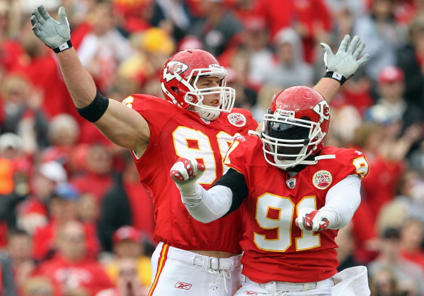 KANSAS CITY, MO - OCTOBER 31:  Andy Studebaker #96 and Tamba Hali #91 of the Kansas City Chiefs celebrate after a tackle during the game against the Buffalo Bills on October 31, 2010  at Arrowhead Stadium in Kansas City, Missouri.  (Photo by Jamie Squire/