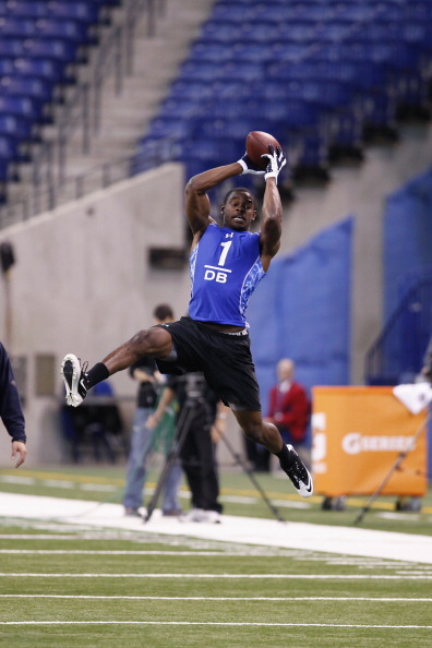 INDIANAPOLIS, IN - MARCH 1: Defensive back Cortez Allen #1 of the Citadel goes up for a pass during the 2011 NFL Scouting Combine at Lucas Oil Stadium on February 28, 2011 in Indianapolis, Indiana. (Photo by Joe Robbins/Getty Images)