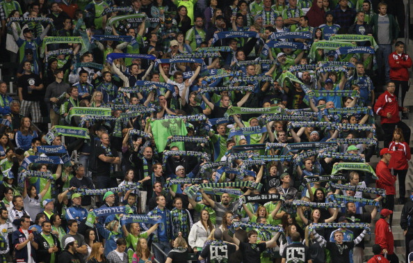 CARSON, CA - NOVEMBER 07:  Seattle Sounders FC fans show their support as their team lose to the Los Angeles Galaxy in the MLS Western Conference Semifinal match second leg at The Home Depot Center on November 7, 2010 in Carson, California. The Galaxy def