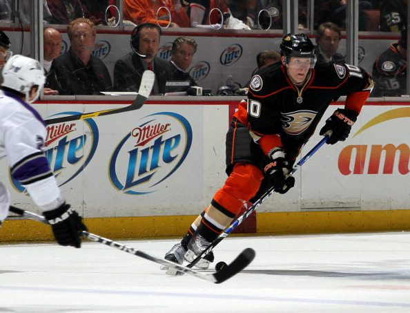 ANAHEIM, CA - APRIL 8:  Corey Perry #10 of the Anaheim Ducks skates with the puck against the Los Angeles Kings at Honda Center on April 8, 2011 in Anaheim, California. The Ducks won 2-1 to clinch a berth in the playoffs.  (Photo by Stephen Dunn/Getty Ima