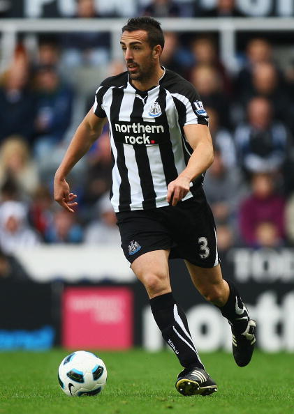 NEWCASTLE UPON TYNE, ENGLAND - OCTOBER 16:  Jose Enrique of Newcastle in action during the Barclays Premier League match between Newcastle United and Wigan Athletic at St James' Park on October 16, 2010 in Newcastle upon Tyne, England.  (Photo by Matthew