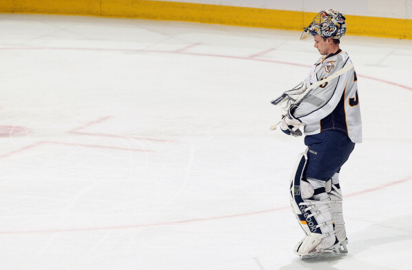 DENVER, CO - MARCH 31:  Goalie Pekka Rinne #35 of the Nashville Predators prepares to defend the goal against the Colorado Avalanche at the Pepsi Center on March 31, 2011 in Denver, Colorado. Rinne had 27 saves as the Nashville Predators defeated the Colo