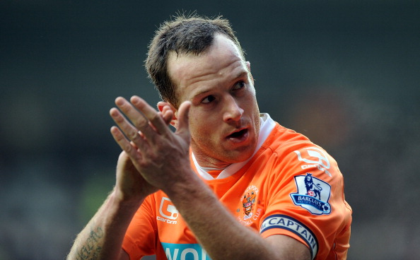 BLACKPOOL, ENGLAND - JANUARY 22:  Charlie Adam of Blackpool applauds the supporters during the Barclays Premier League match between Blackpool and Sunderland at Bloomfield Road on January 22, 2011 in Blackpool, England.  (Photo by Chris Brunskill/Getty Im