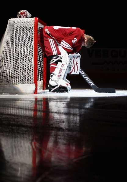 GLENDALE, AZ - APRIL 01:  Goaltender Ilya Bryzgalov #30 of the Phoenix Coyotes is introduced before the NHL game against the Colorado Avalanche at Jobing.com Arena on April 1, 2011 in Glendale, Arizona.  The Avalanche defeated the Coyotes 4-3 in an overti