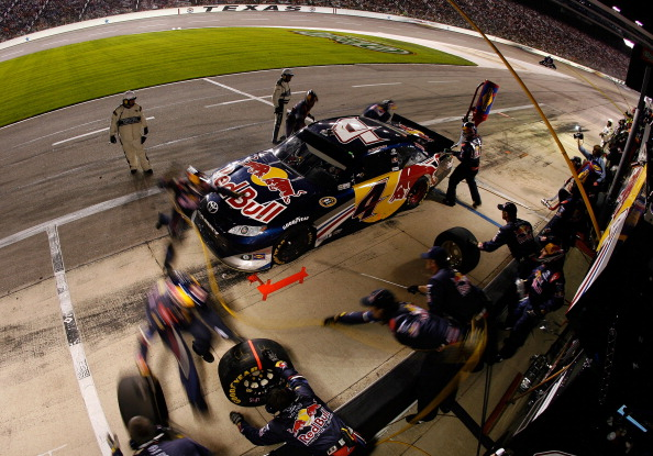 FORT WORTH, TX - APRIL 09:  Kasey Kahne pits the #4 Red Bull Toyota during the NASCAR Sprint Cup Series Samsung Mobile 500 at Texas Motor Speedway on April 9, 2011 in Fort Worth, Texas.  (Photo by Tom Pennington/Getty Images for NASCAR)