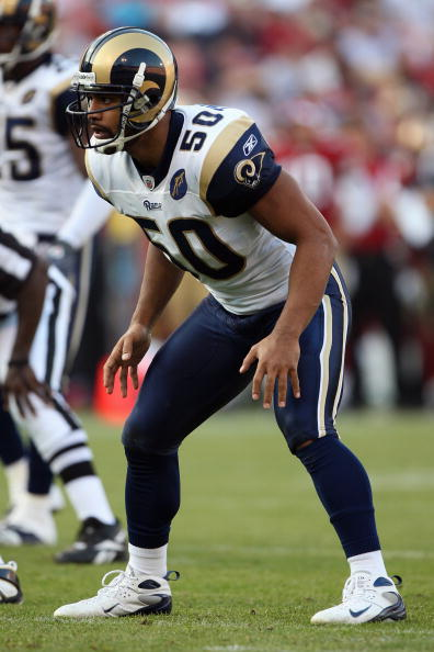 SAN FRANCISCO - NOVEMBER 16:  Pisa Tinoisamoa #50 of the St. Louis Rams sets during the game against the San Francisco 49ers on November 16, 2008 at Candlestick Park in San Francisco, California. (Photo by Jed Jacobsohn/Getty Images)