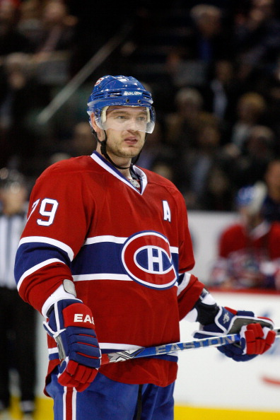 MONTREAL- NOVEMBER 9:  Andrei Markov #79 of the Montreal Canadiens waits for a faceoff during the NHL game Vancouver Canucks at the Bell Centre on November 9, 2010 in Montreal, Quebec, Canada.  The Canadiens defeated the Canucks 2-0.  (Photo by Richard Wo
