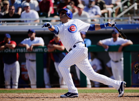 MESA, AZ - MARCH 09:  Aramis Ramirez #16 of the Chicago Cubs swings at a pitch against the Kansas City Royals during the spring training baseball game at HoHoKam Stadium on March 9, 2011 in Mesa, Arizona.  (Photo by Kevork Djansezian/Getty Images)