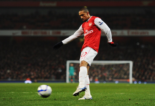LONDON, UNITED KINGDOM - MARCH 02:  Gael Clichy of Arsenal scores his sides fifth goal during the FA Cup sponsored by E.ON 5th Round Replay match between between Arsenal and Leyton Orient at the Emirates Stadium on March 2, 2011 in London, England.  (Phot