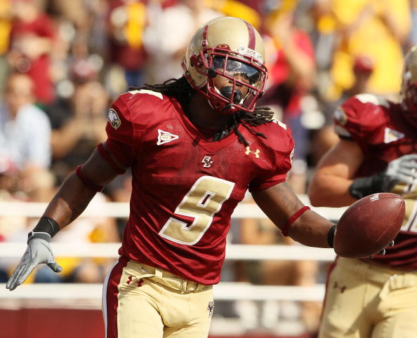 CHESTNUT HILL, MA - SEPTEMBER 04:  DeLeon Gause #9 of the Boston College Eagles celebrates after he intercepted the ball and ran it in for a touchdown in the third quarter against the Weber State Wildcats on September 4, 2010 at Alumni Stadium in Chestnut