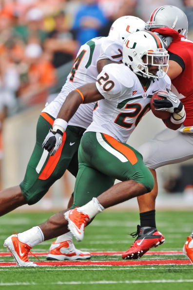 COLUMBUS, OH - SEPTEMBER 11:  Damien Berry #20 of the Miami Hurricanes runs with the ball against the Ohio State Buckeyes at Ohio Stadium on September 11, 2010 in Columbus, Ohio.  (Photo by Jamie Sabau/Getty Images)